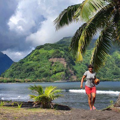zwei wollen meer strand reife Kokosnuss